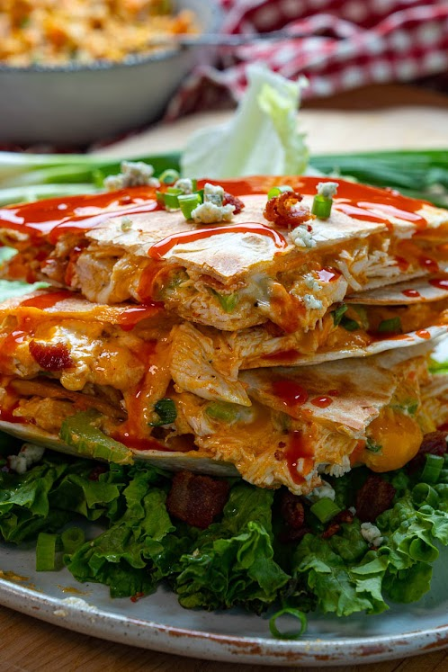 Buffalo Chicken Salad Quesadillas