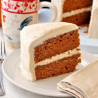 Sticky Toffee Pumpkin Cake with Brown Butter Cream Cheese Frosting.