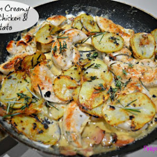 One Pan Creamy Garlic Chicken & Potato