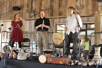Photo: Beth Hall, Barry Hall and Brian Ransom giving a talk and performance on clay musical instruments at The Bascom art center in Highlands, NC.
