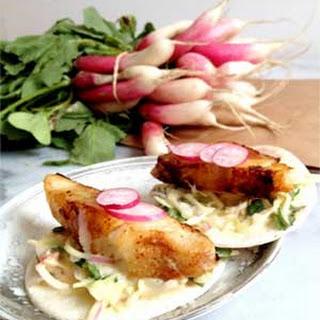 Fish Tacos with Spicy Hummus Slaw