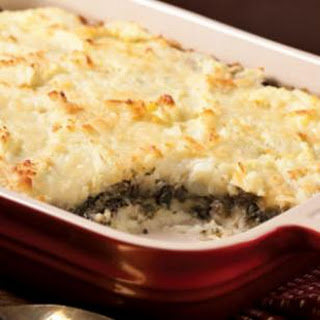 Layered Mashed Potato & Mushroom Casserole.