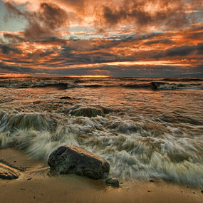 Sudden Torment by Carl Chalupa - Landscapes Waterscapes ( lake ontario, water, waves, lake, sunrise, storm,  )