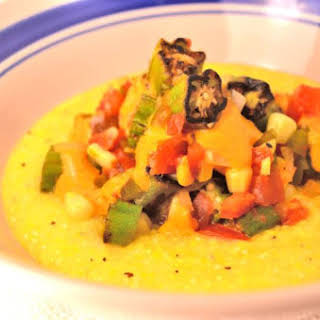 Charred Okra and Tomato Sauté over Grits.