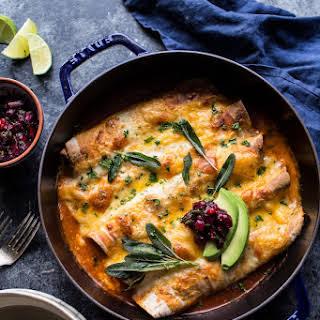Spicy Green Chile Turkey, Butternut Squash and Crispy Sage Enchiladas..