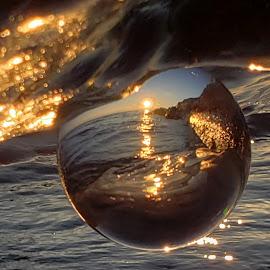 Sunrise  by Nancy Tonkin - Artistic Objects Glass ( lake michigan, glasses, sunrise, balloon, refraction, crystal, glass art, lakes )