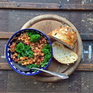Farro, Chickpea, Mushroom and Kale Stew