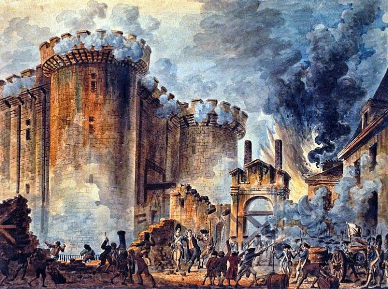 A tomada da Bastilha em 14 de julho de 1789, dando início à Revolução Francesa.