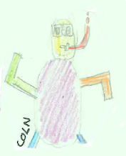 "Photo: Coln's bug dances ""the robot"""