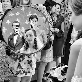 I see you by Tiberiu Stefan  Simion - Wedding Bride & Groom ( love, wife, white, miror, flowers, bride, people, groom, black )