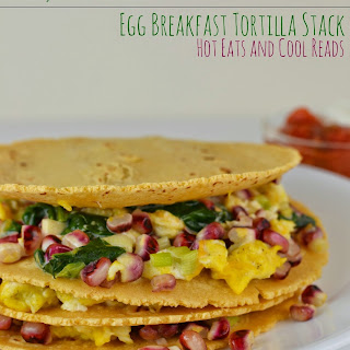 Corn, Spinach and Egg Breakfast Tortilla Stack