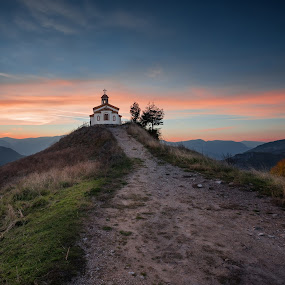 Chapel on the hill by Evgeni Ivanov - Landscapes Mountains & Hills ( christian, europe, mountain, christianity, decorative, road, chapel, architecture, landscape, religion, nature, bulgaria, hill, building, belief, purple, church, faith, obsolete, green, beautiful, art, orthodox, cloudscape, saint, landmark, symbols, blue, on the top, background, night, religious, cross,  )