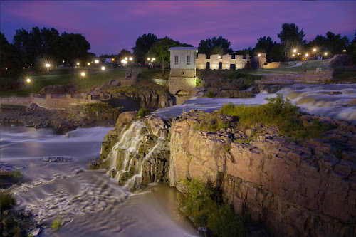 Scenic South Dakota by Mike Lennett - Landscapes Waterscapes ( water, light bursts, sunset, long exposure, south dakota, sioux falls, big sioux river, river )