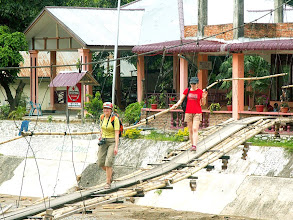 Photo: Bukit Lawang - Asia and Krysia on a hanging bridge