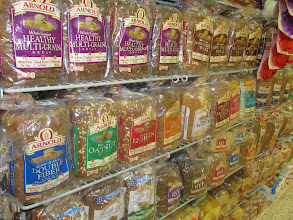 Photo: The Whole Grains line of sliced bread from Arnold's is prominently displayed.