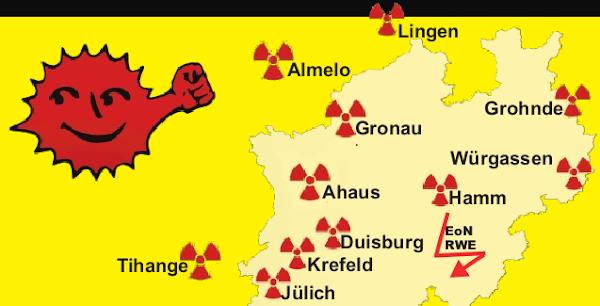 Karte der Atomanlagen in NRW und drumrum.