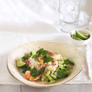 Poached prawns with rice noodles, cucumber and Thai herbs.