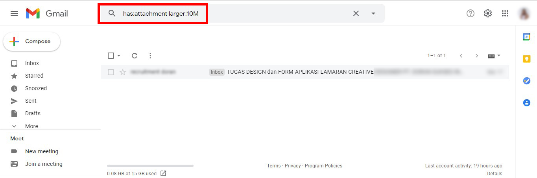 Fitur untuk mengfilter file attachment pada Gmail