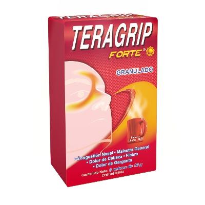 Acetaminofen + Cafeina + Clorfeniramina Teragrip Forte 650/20/2 Mg Producto de Laboratorios Farma. Tratamiento sintomático del resfriado común.