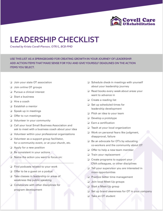 Leadership checklist part 1