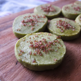 Matcha Green Tea Shortbread with Raspberry Sugar Recipe