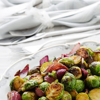 Brussels Sprouts With Caramelized Red Onions.