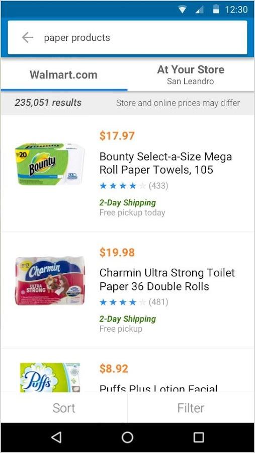 Screenshots of Walmart for iPhone