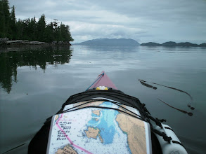 Photo: Grenville Channel comes to an end. Rippon Point is to the left, Gibson Island to the right and Kennedy Island far off in the center.