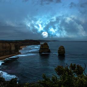 Great Ocean Road Moon Light by Pilar Gonzalez - Landscapes Waterscapes ( seashore, sea, full moon, blue moon, seascape,  )