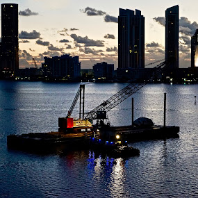 Williams Island, FL by Neil Dern - Landscapes Sunsets & Sunrises ( water, buildings, sunrise, landscapes, nightscape )
