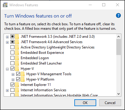 Windows programs and features dialogue box