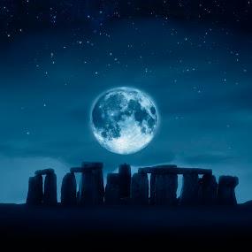 stonehenge full moon by Markus Gann - Print & Graphics All Print & Graphics ( scotland, old, moon, bright, shine, england, sky, ancient, spiritual, mystical, full, dark, rocks, evening, clouds, stonehenge, pale, history, magic, uk. cornwall, stars, meadow, night, knoll, religious, britain )