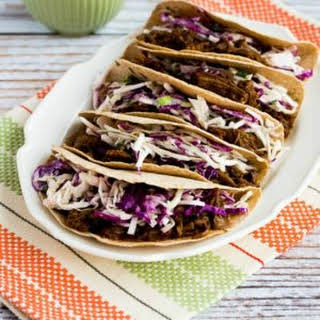 Pressure Cooker (or Slow Cooker) Low-Carb Flank Steak Tacos with Spicy Mexican Slaw.