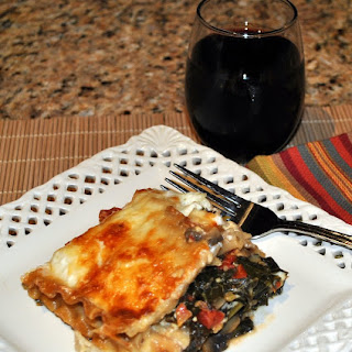Vegetable Lasagna with Mushrooms, Kale and Sun Dried Tomatoes.