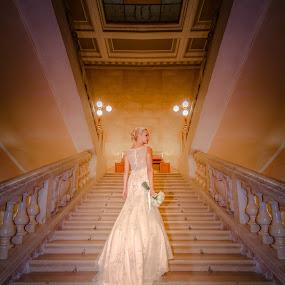 Bride by Andrej Folo - Wedding Bride ( stair, wedding photography, wedding photographers, croatia, white, wedding dress, lights, stairs, wife, wedding, wedding day, symmetry, bride, nikon, light, pula, wifetobe )