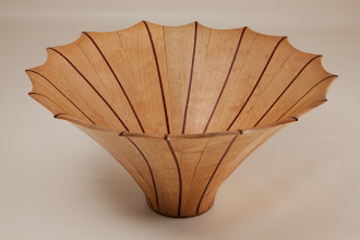 "Photo: Eliot Feldman 9 1/4"" x 5"" staved segmented vessel [maple, bloodwood]"