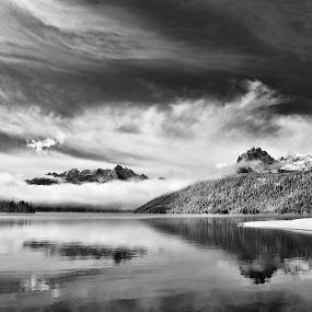 Redfish Lake by Lisa Kidd - Landscapes Mountains & Hills ( idaho, stanley, mountains, black and white, lake )