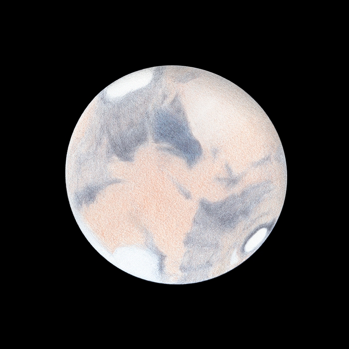 Photo: Le 2 avril à 19h30TU. T406 à 470X en bino. Bonnes conditions. Syrtis Major est bleue, et la zone désertique à sa droite est décolorée, certainement à cause de nuages au-dessus d'elle. A gauche, sur le limbe couchant, Elysium est surmonté de brumes.