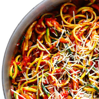 Zoodles Marinara (Zucchini Noodles with Chunky Tomato Sauce)