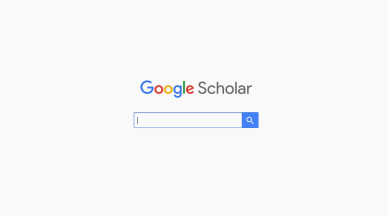 """A search bar against a white background. The words """"Google Scholar"""" appear in the background."""