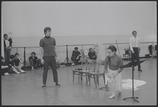 Victoria Mallory and Kurt Peterson in rehearsal for the stage production West Side Story