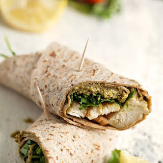 Light And Healthy Chicken Pesto Wraps.