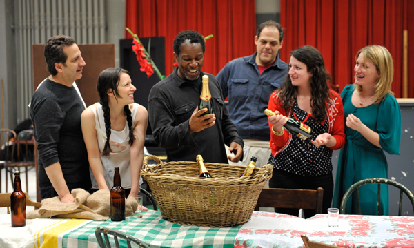 Photo: (Left to right) Chuck Morello (Marc Grapey), Cora (Kate Arrington), Joe Mott (John Douglas Thompson), Rocky Pioggi (Salvatore Inzerillo), Pearl (Tara Sissom), and Margie (Lee Stark) celebrate Hickey's gift of champagne during a rehearsal of Eugene O'Neill's The Iceman Cometh, directed by Robert Falls, at Goodman Theatre (April 21 – June 17).