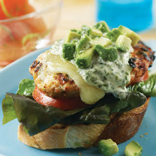 Chicken Burgers with Basil Yogurt Sauce.