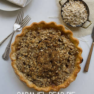 Caramel Pear Pie with Oat Crumble.