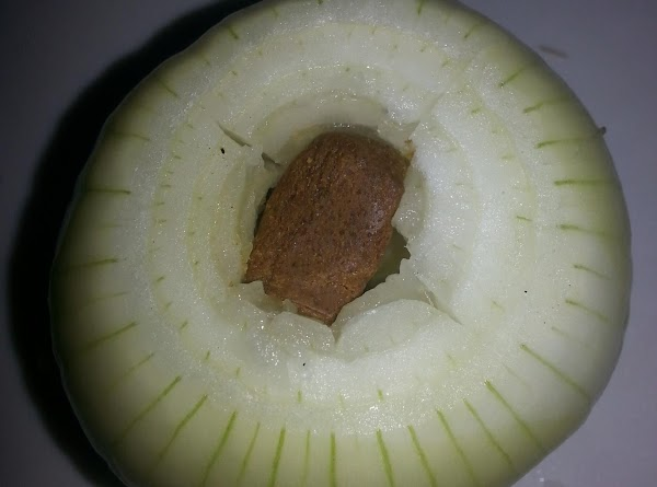 Stuff the Bouillon cube into the center of the onion  SIDE NOTE: I use the...