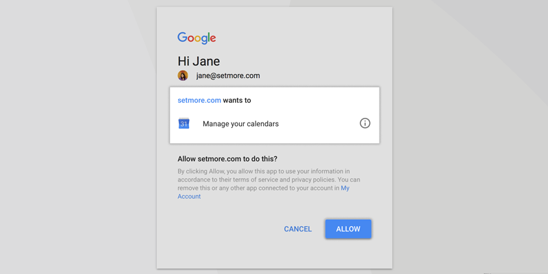 Syncing the Google Calendar with Setmore Calendar