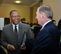 Photo: Chief Justice Roderick Ireland (Supreme Judicial Court) shares a laugh with BBA President Paul Dacier.