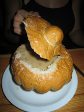 Photo: Mushroom soup in a bread bowl