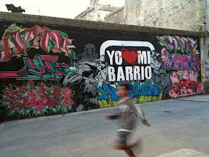 Photo: Graffiti wall on the walk from old town to the marina in Montevideo.  Great spot for football!